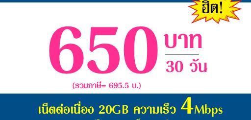 โปรเน็ตดีแทค 30 วัน เน็ตเร็ว 4Mbps เพียง 650บาท/เดือน
